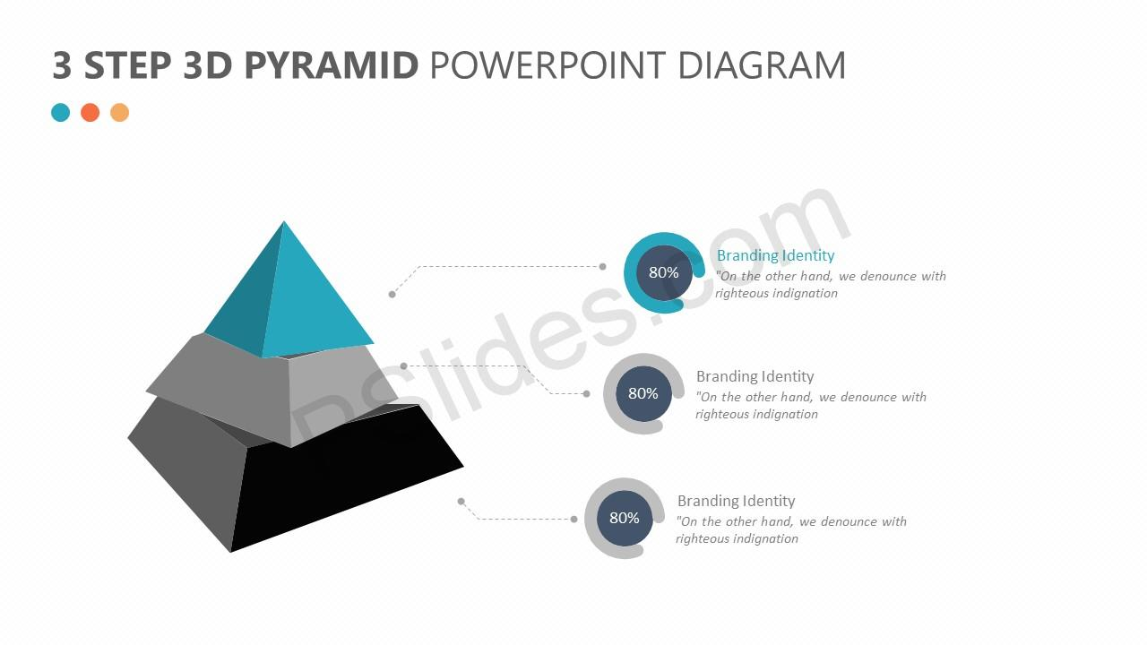 hight resolution of 3 step 3d pyramid powerpoint diagram slide 1