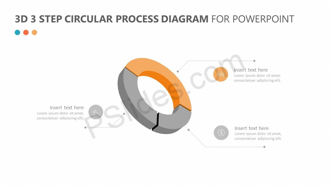 hight resolution of  3d 3 step circular process diagram for powerpoint slide 3
