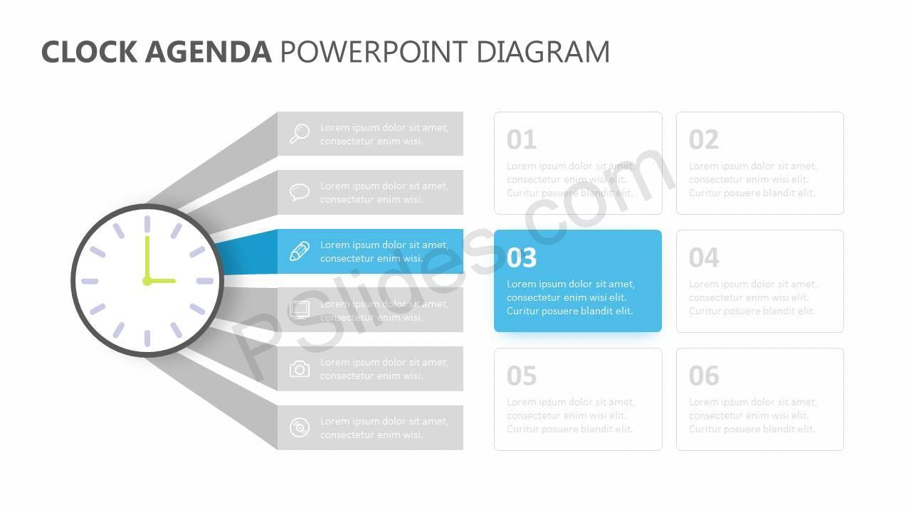 hight resolution of  clock agenda powerpoint diagram slide2
