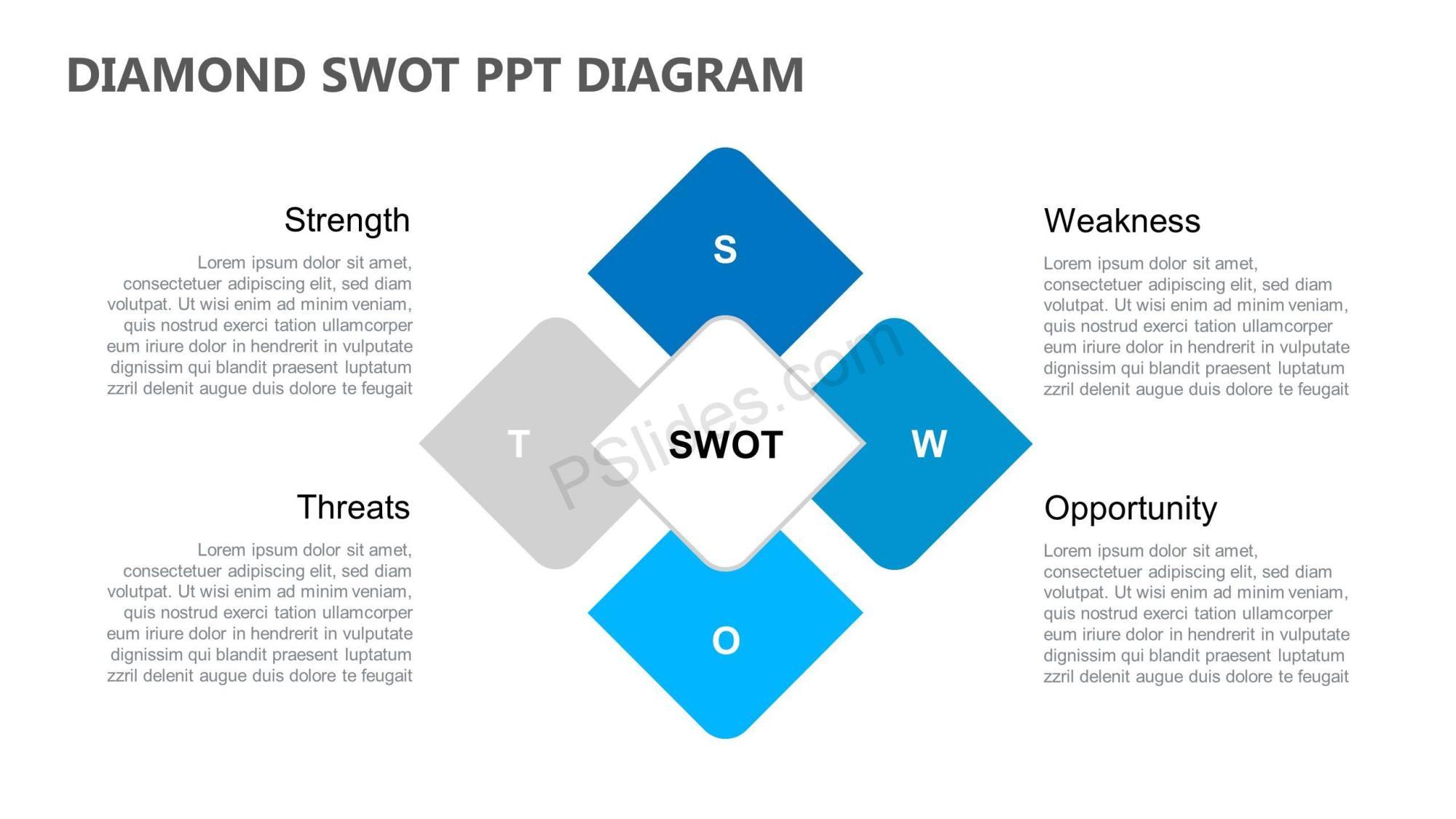 hight resolution of diamond swot ppt diagram slide1