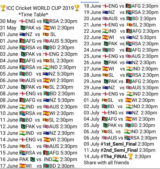 Pick the world cup standings cricket 2019 groups and schedule