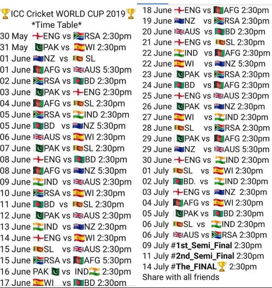 ICC Cricket World Cup 2019 Schedule Image