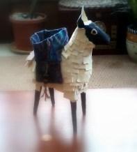 "Paper Mâché Sheep w/ Fabric Trinket Basket - 7"" High"