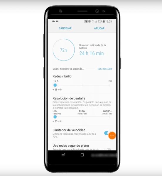 bajar resolución de pantalla del Galaxy S8