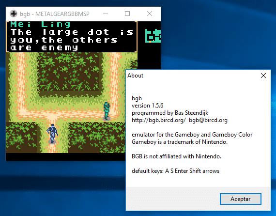 bgb emulador de Game Boy Color emulando Metal Gear Solid