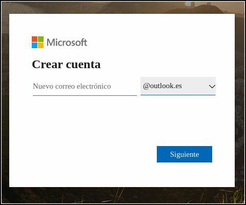 crear cuenta Microsoft