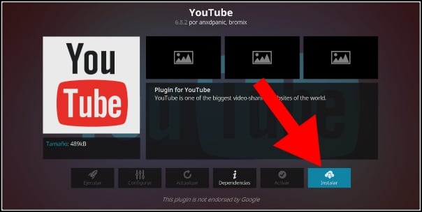 instalar addon YouTube