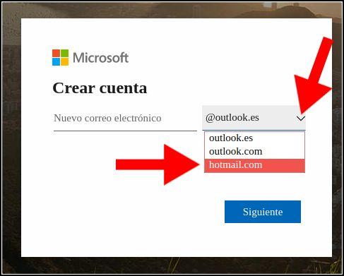 seleccionar correo Hotmail