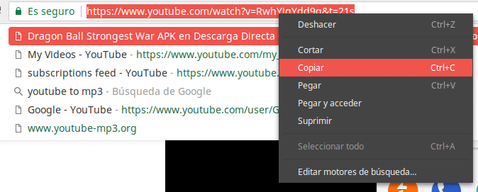 Copiar url de YouTube