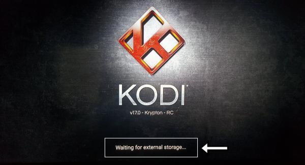 waiting for external storage en Kodi