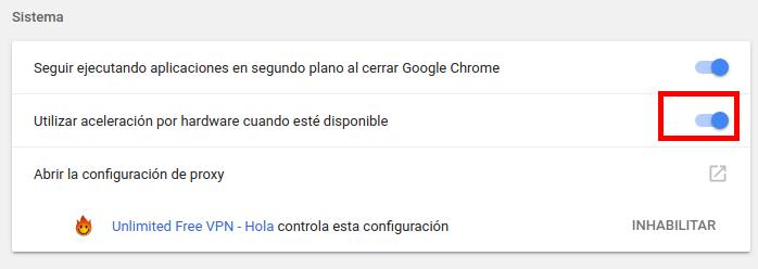 sistema deshabilitar aceleración por hardware en Chrome
