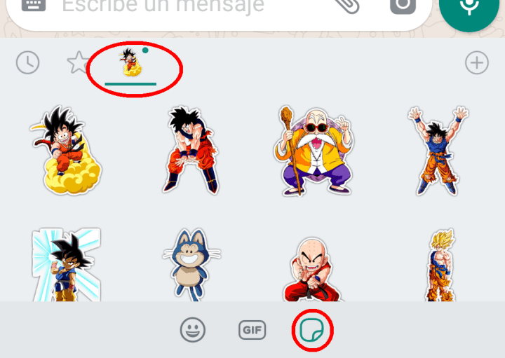 stickers de Dragon Ball añadidos a WhatsApp