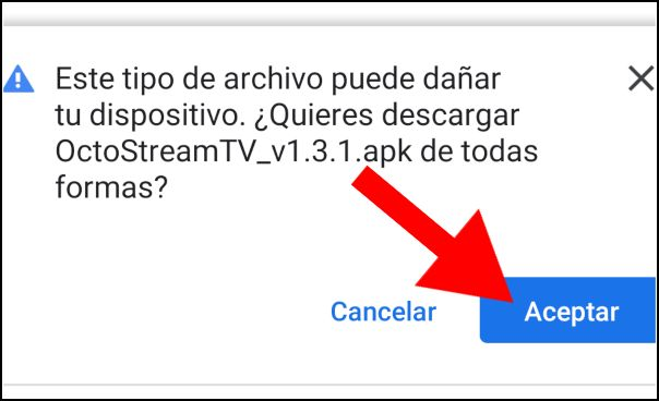 Aceptar descarga OctoStream TV