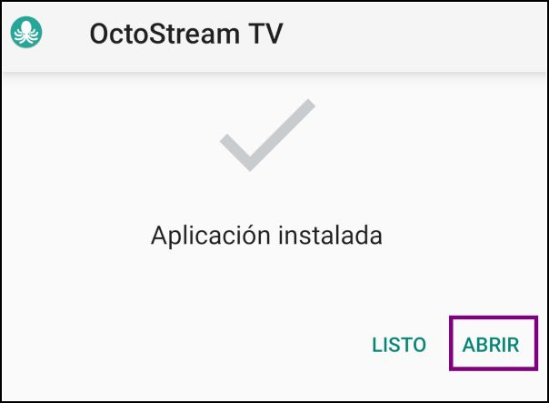 aplicación instalada OctoStream TV