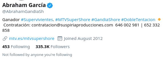 perfil de Twitter con correo y teléfono