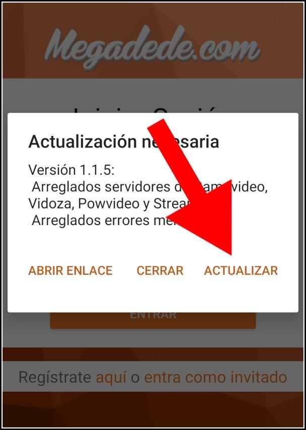 Actualizar Megadede para Android