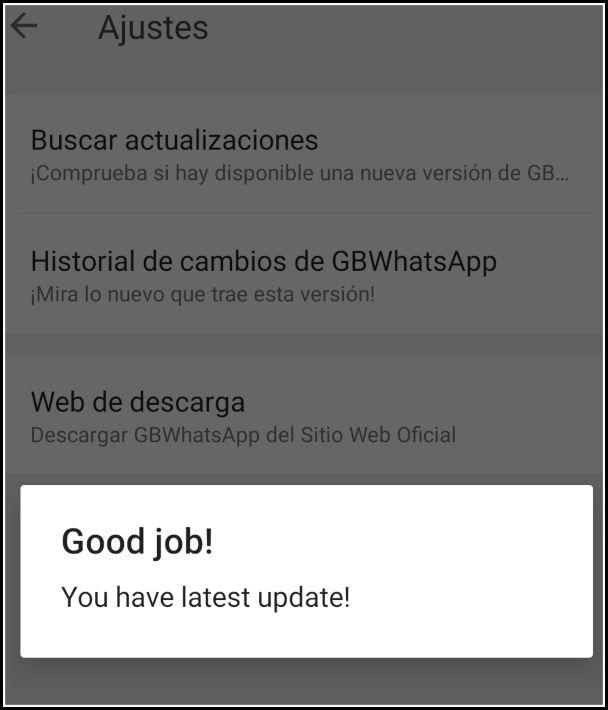 comprobar actualización GBWhatsApp