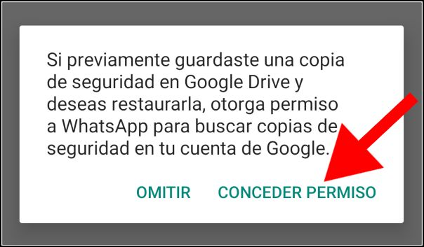 Conceder permiso de escritura en Google Drive a WhatsApp