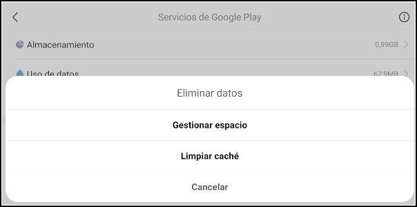 borrar datos en Servicios de Google Play