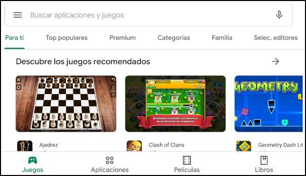 pantalla de inicio en Play Store