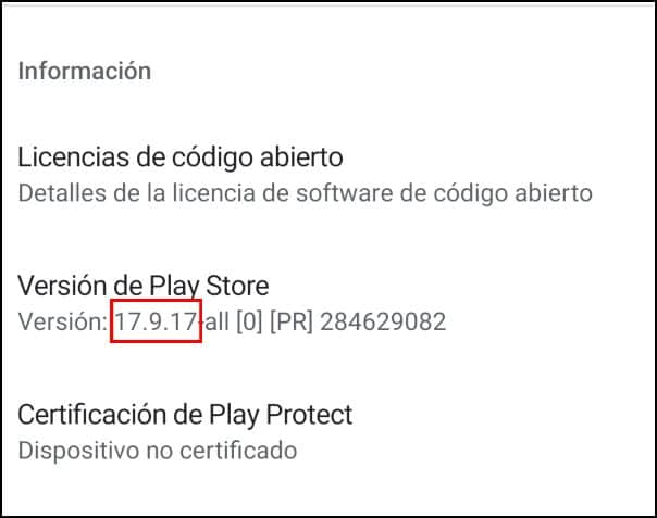 versión Play Store actual