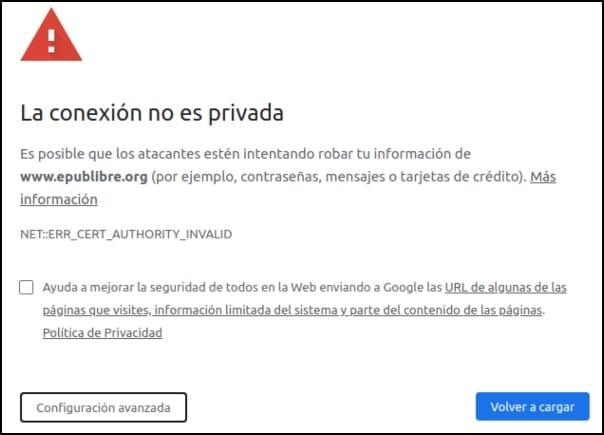 la conexión no es privada