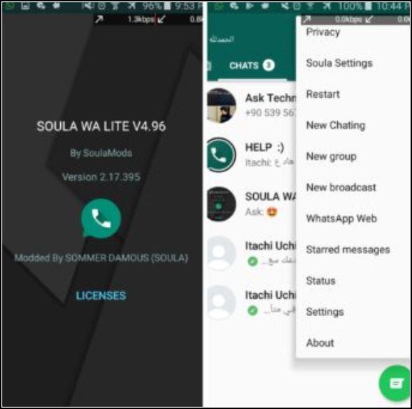 aspecto de Soula WhatsApp Lite