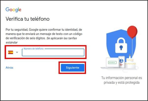 numero de teléfono nueva cuenta Gmail