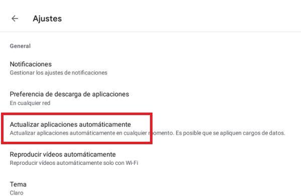 Play Store desactivar actualizaciones automáticas 3