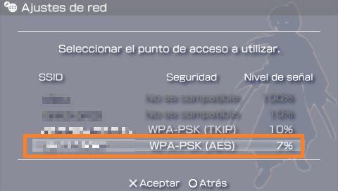 PSP seleccionar red