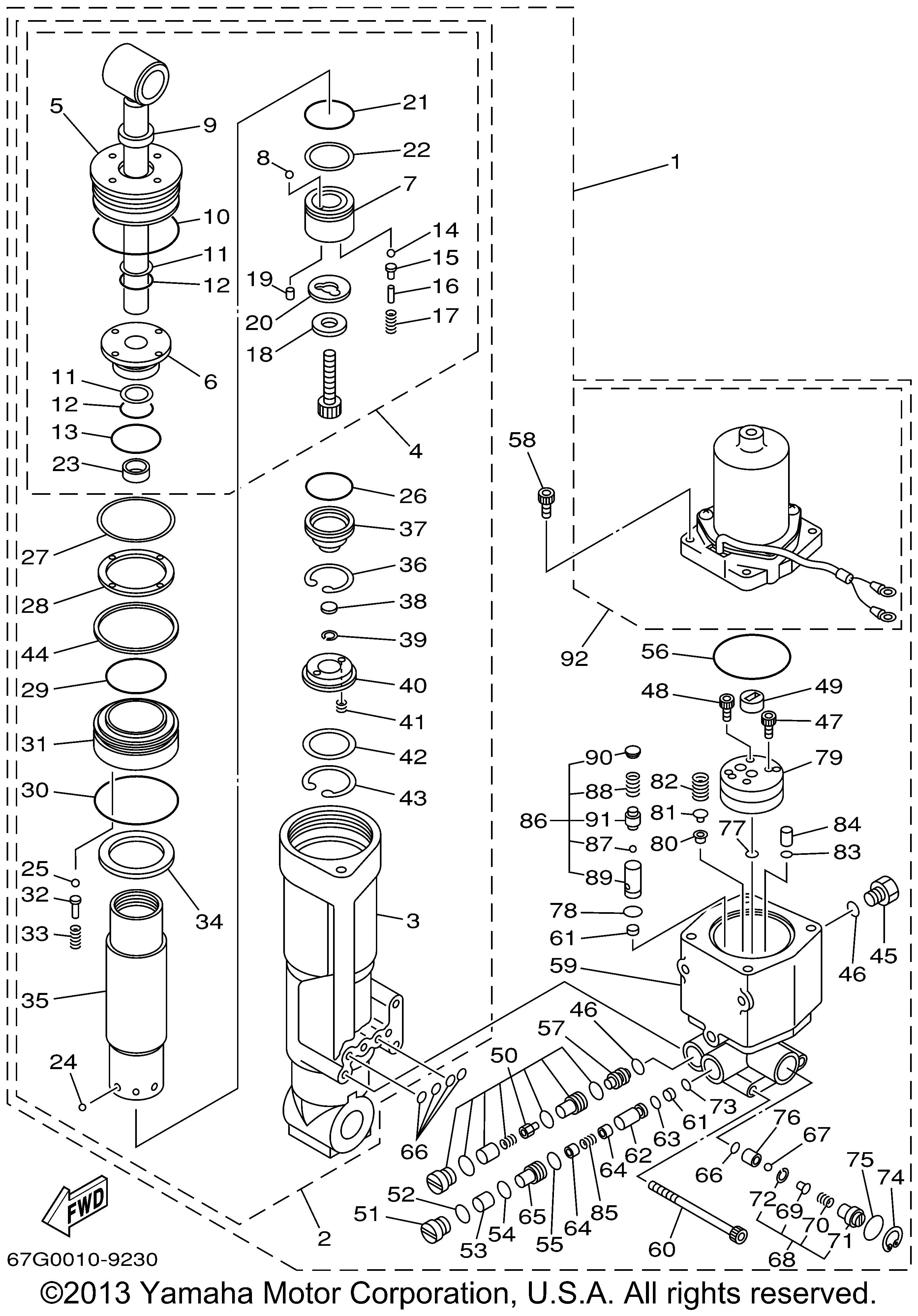 Yamaha OEM Part 67F-4380K-00-00 Power Trim Cylinder