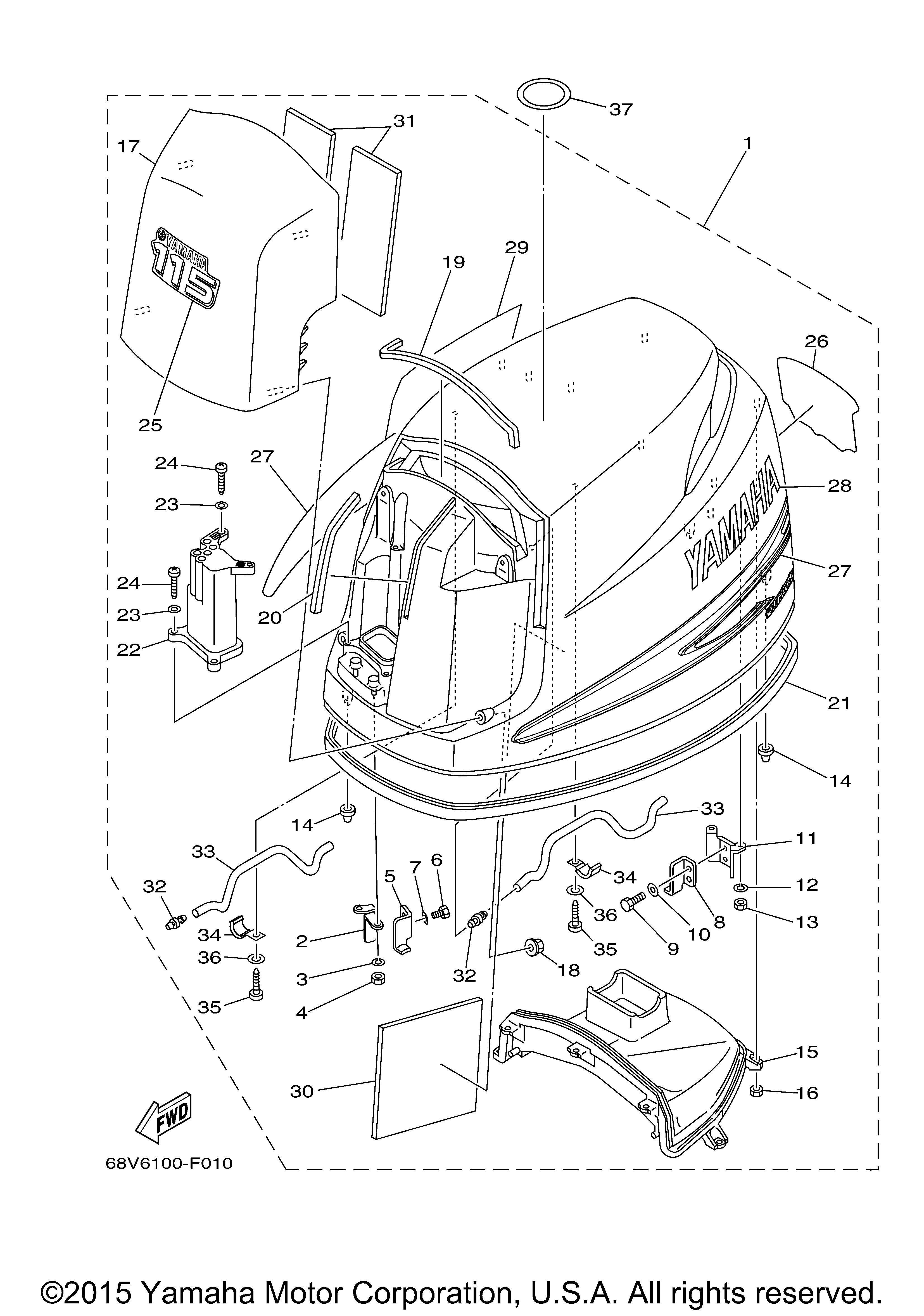 Yamaha Graphic, rear 68V42678B000, New Genuine OEM Part