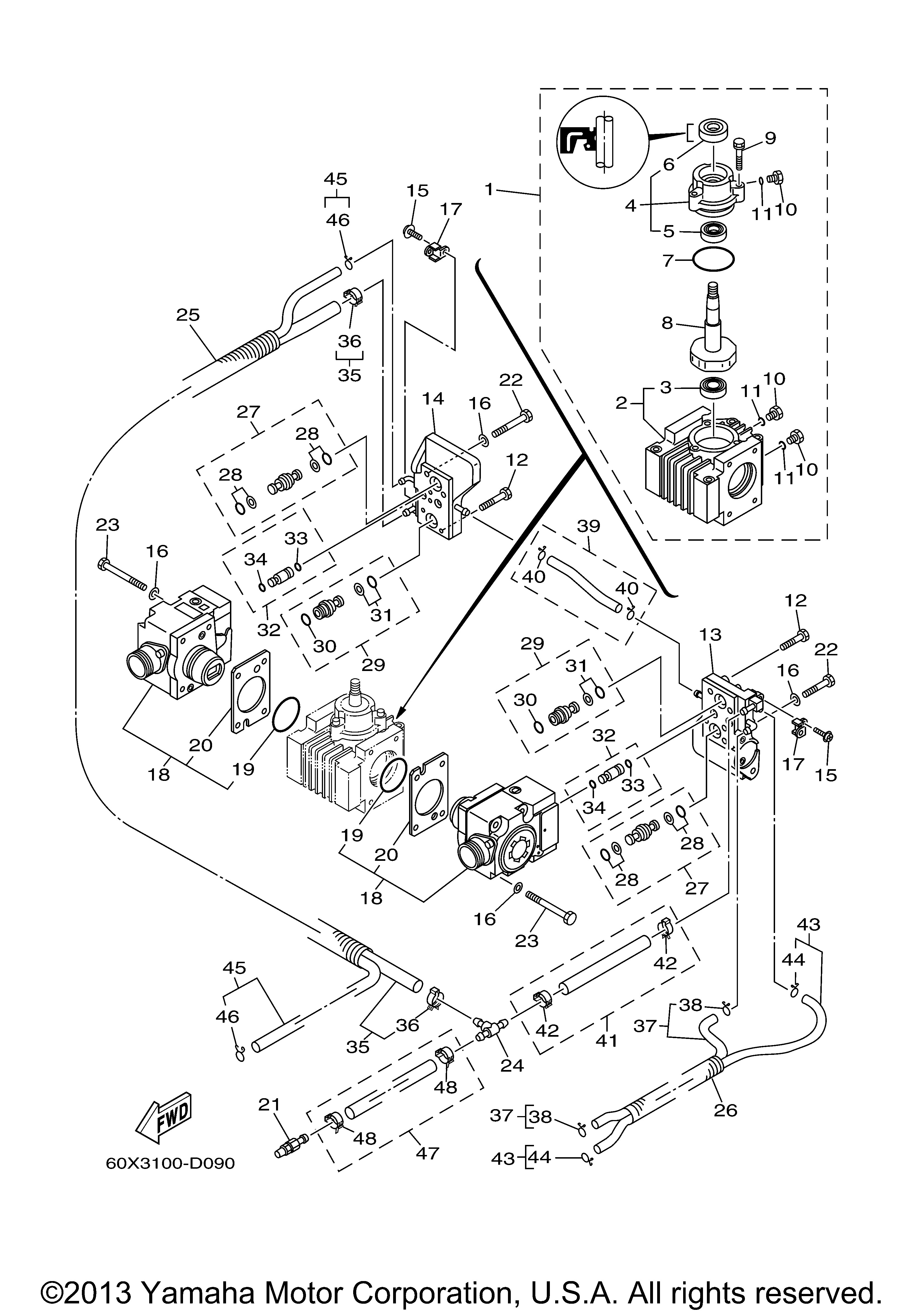 Yamaha OEM Part 68F-2466A-00-00 Injector pump packing