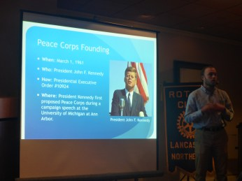 Talking about the founding of Peace Corps to a Rotary club