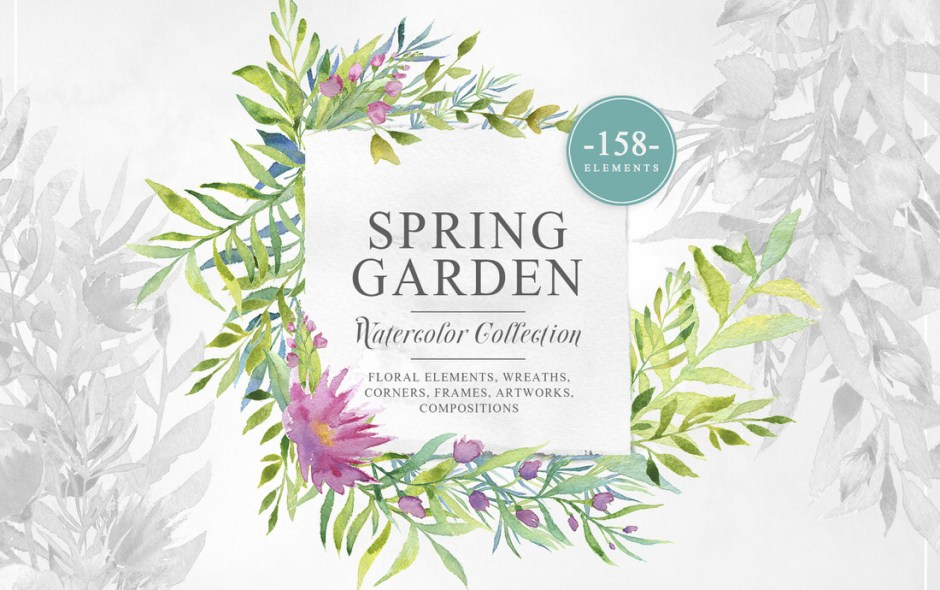 Download Spring Garden Watercolor Collection