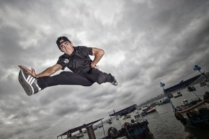 B-Boy Hellstyle from Colombia poses for a photo prior to Red Bull BC One Latin America Final at Chorrillo Harbor in Lima, Peru, on Ocotober 29th, 2015.