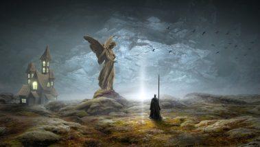 psychodrame : représentation fantasmatique d'une scène jouée avec un chevalier et une maison abandonnée