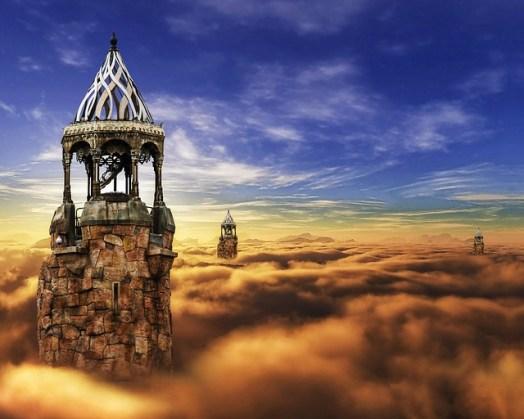 Somnambulisme : image onirique de tours dans des nuages de sable