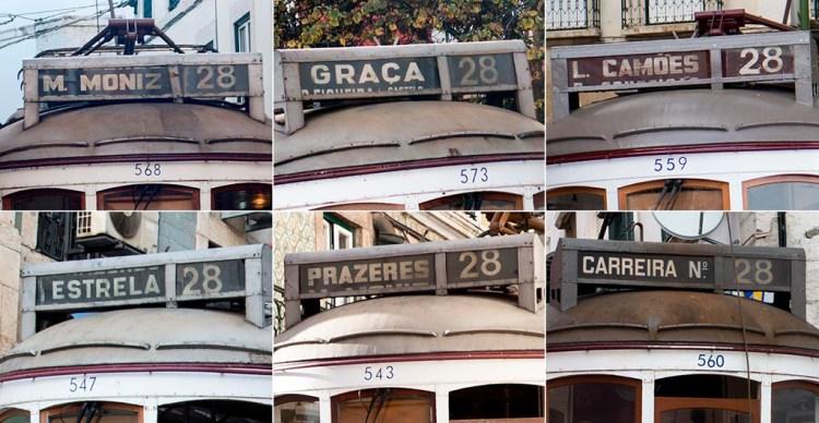 Tablice kierunkowe tramwajów 28