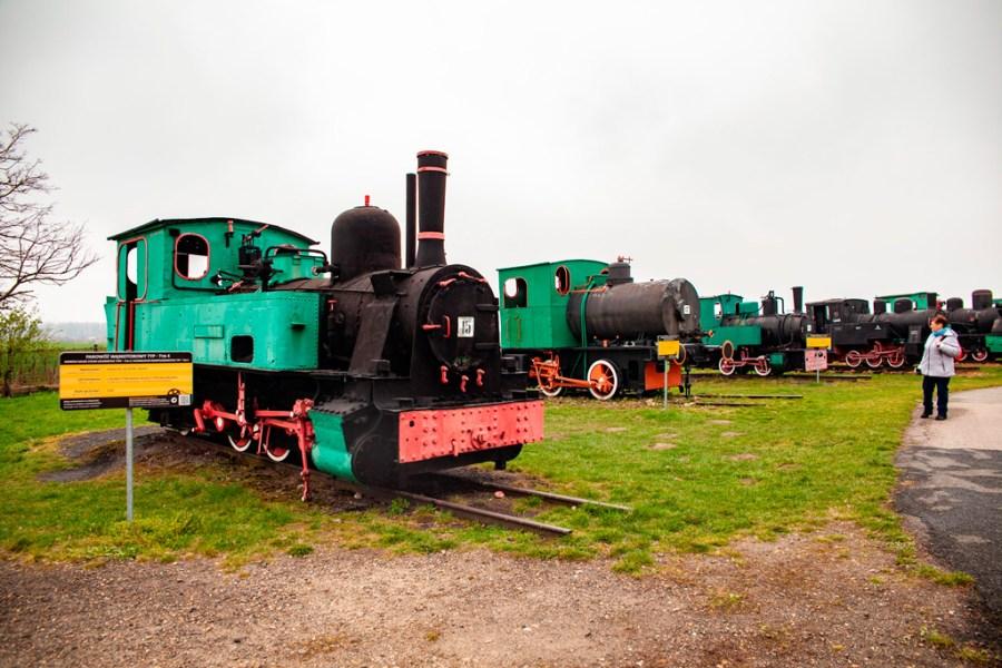 Stare lokomowywy parowe w skansenie obok kopalni