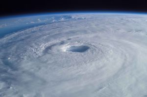 An image of Hurricane Isabel as seen from the International Space Station showing a well-defined eye at the center of the storm.