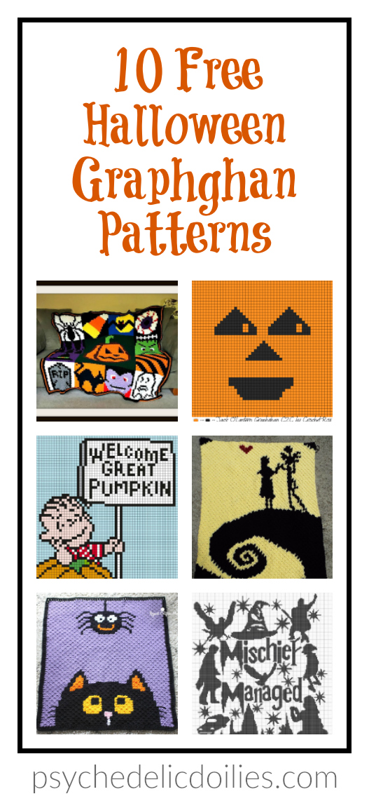 10 Free Halloween Crochet Graphghan Patterns Psychedelic Doilies