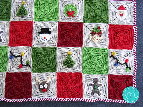 Granny Square Christmas Blanket Crochet Pattern On Etsy