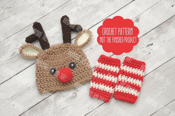 Reindeer Hat and Leg Warmers Baby Christmas Crochet Pattern on Etsy ...