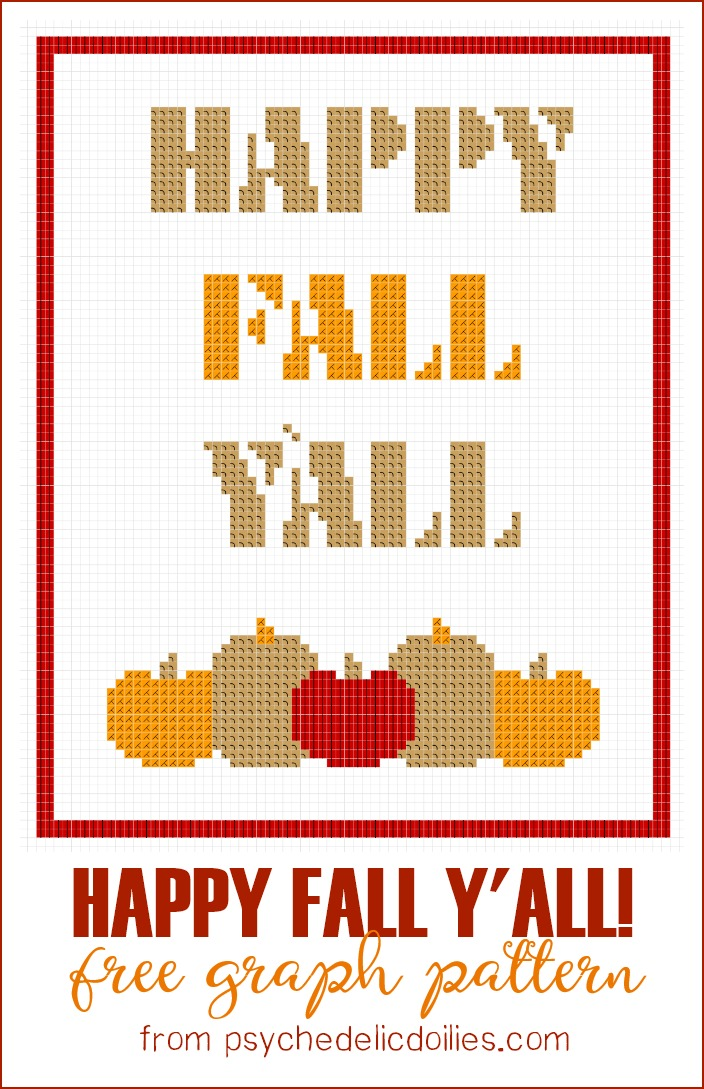 Happy Fall Yall Free Graph Pattern Psychedelic Doilies