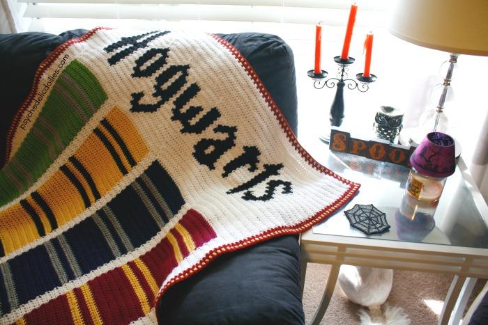 Hogwarts Houses Harry Potter Blanket Free Crochet Pattern