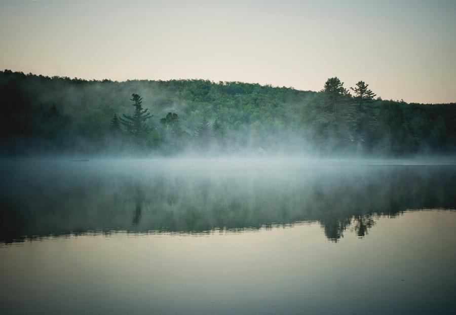 Fog rolls across the lake