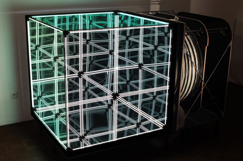 This Cube Of Infinite Mirrors Expands Contracts And