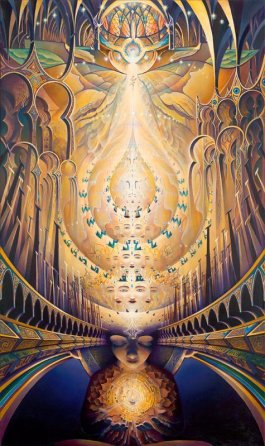 DMT is the doorway to the intensely personal temple of our own sacredness.  (Art by Michael Divine)