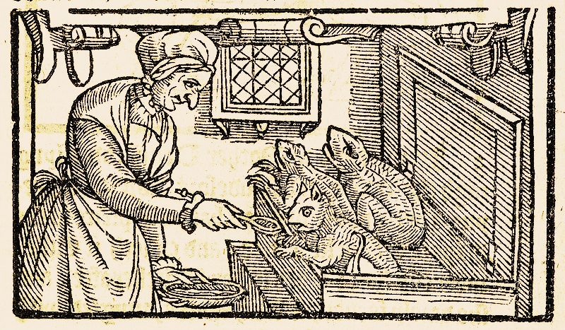 Witch feeding her familiars with blood, 1579